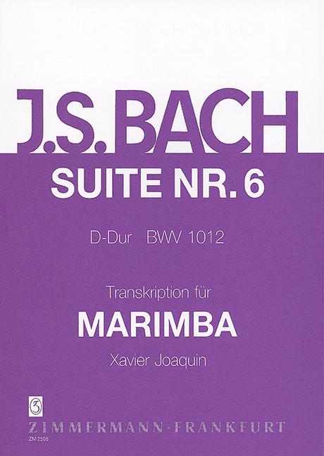 Avoir Un Esprit De Recherche Suite Vi Bwv 1012 Bach, Johann Sebastian Marimba 9790010250601-afficher Le Titre D'origine Nouveau Design (En);